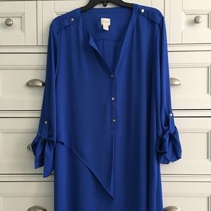 Chico's blue long blouse shirt, Size 3 or XL
